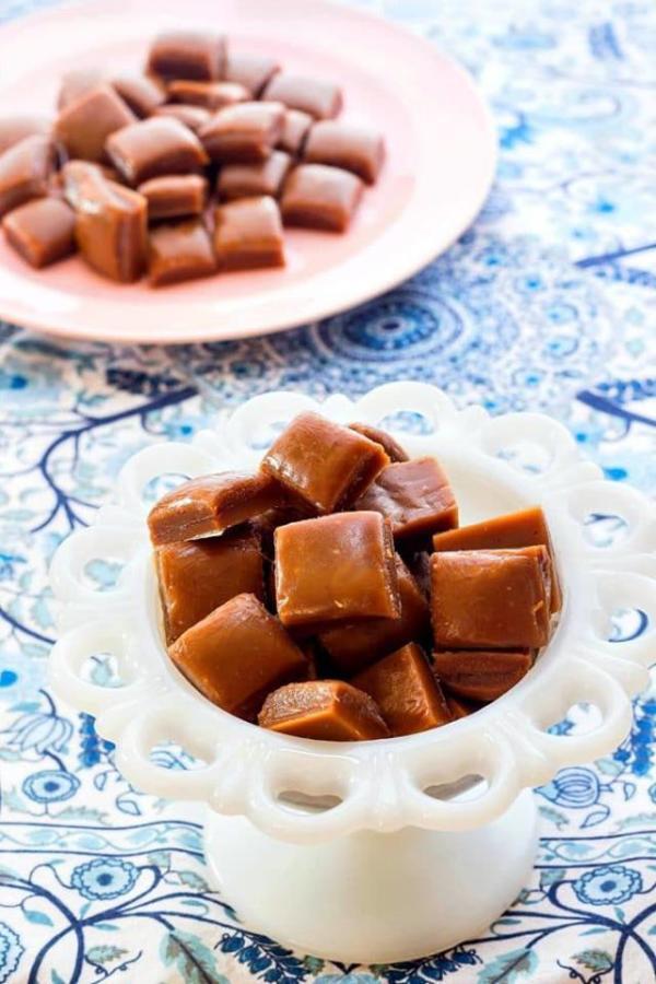 dish of butterscotch candy