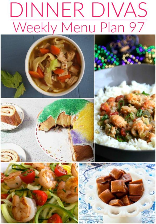 pin collage of images for dinner divas weekly menu plan