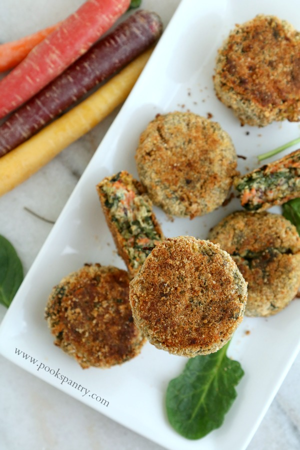 superfood veggie cakes on platter with carrots on the side