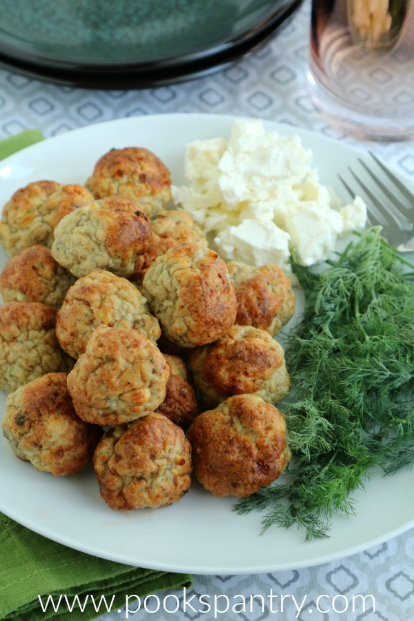 chicken meatballs with feta and dill on plate