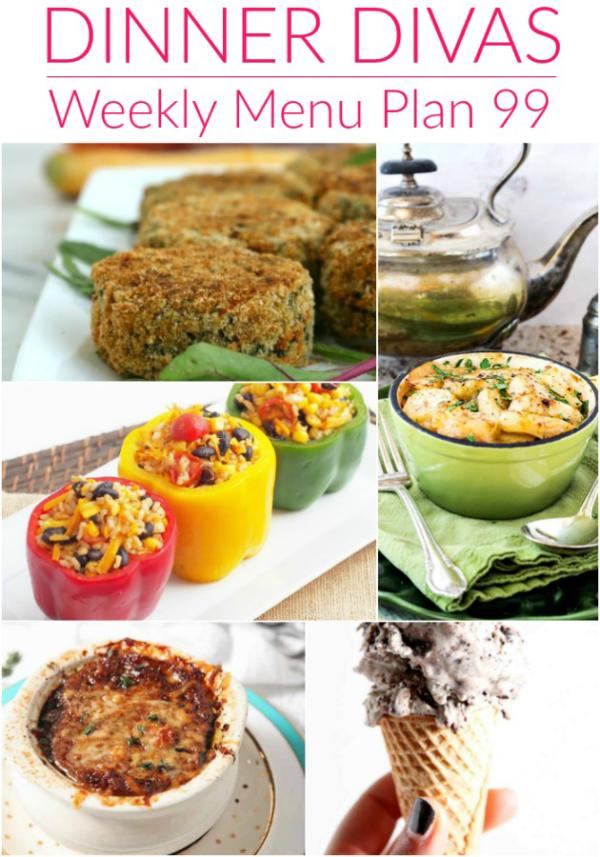 collage of photos for dinner divas weekly menu