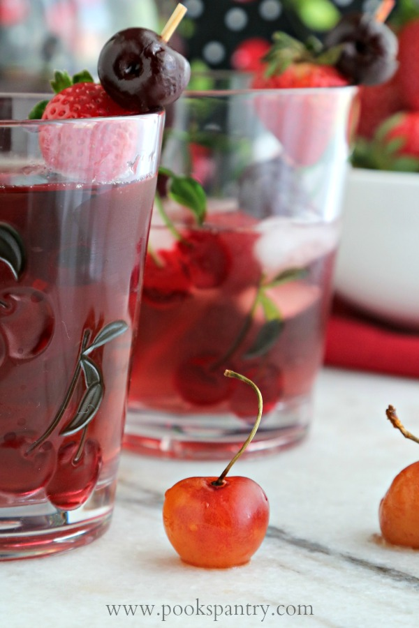 close up of cherry with spritzer