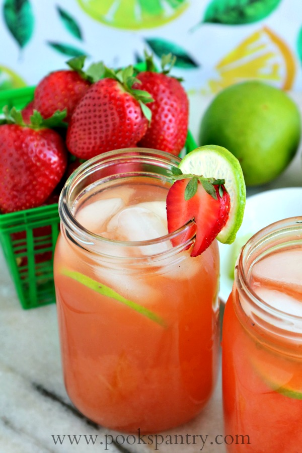 strawberry limeade in mason jars