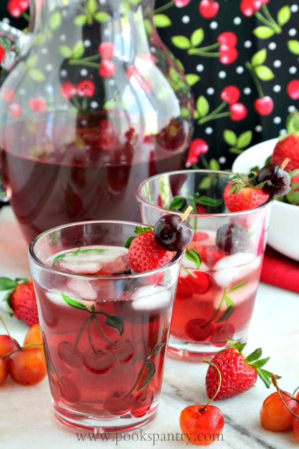 spritzer with strawberries and cherries
