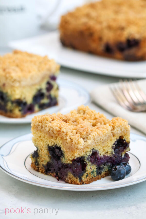 Slices of blueberry crumb cake on china plates.