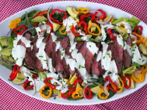 Grilled Steak Salad with Chive Yogurt Dressing