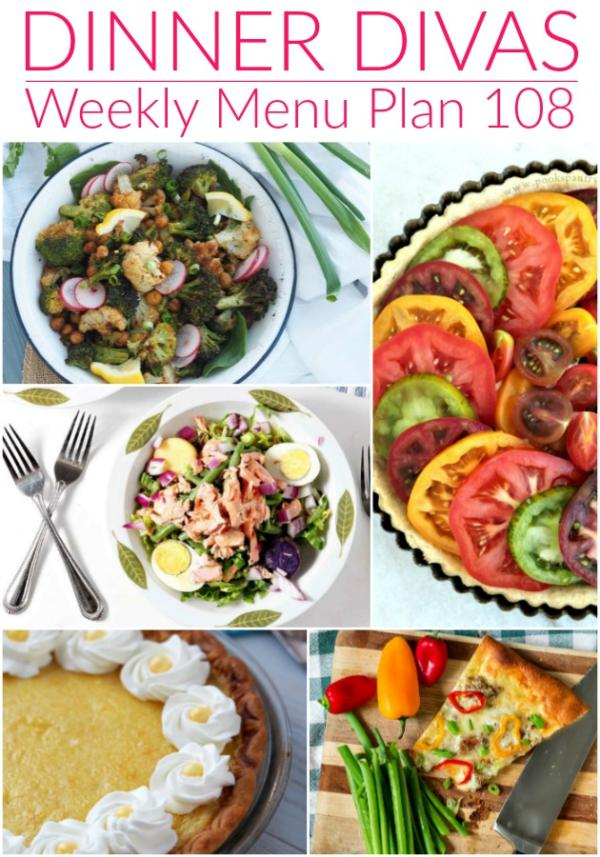 collage of images for weekly menu plan 108