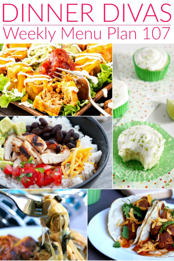 collage of photos for dinner divas weekly menu 107