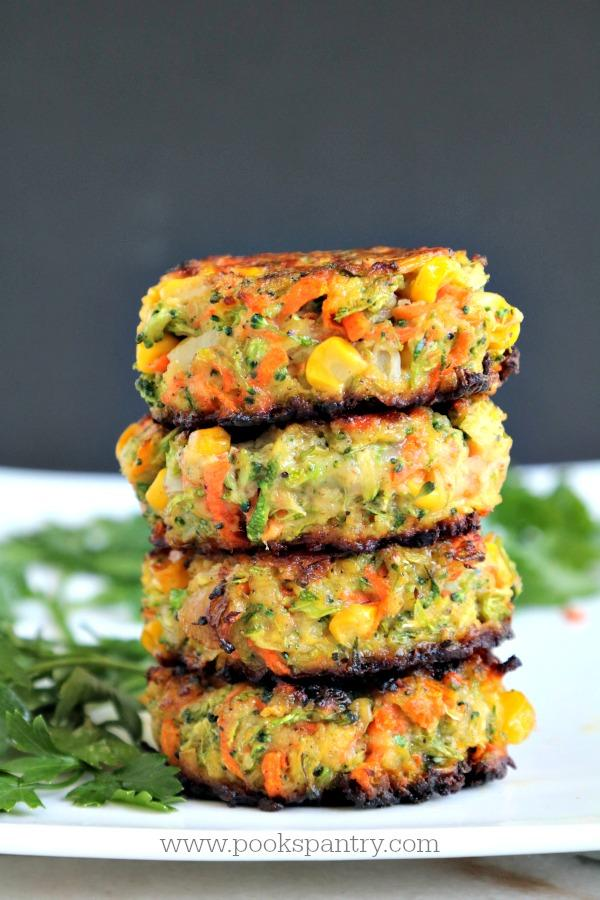 stack of veggie cakes with black background