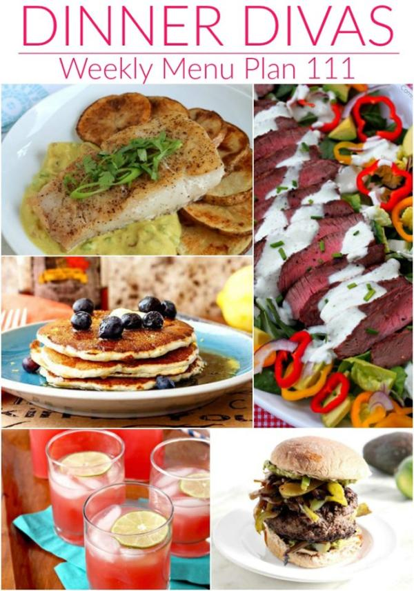 collage of images for dinner divas weekly menu plan 111