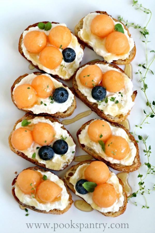 easy bruschetta recipe with melon and ricotta cheese