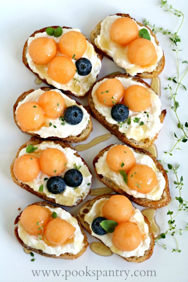 easy bruschetta recipe with melon and ricotta cheese