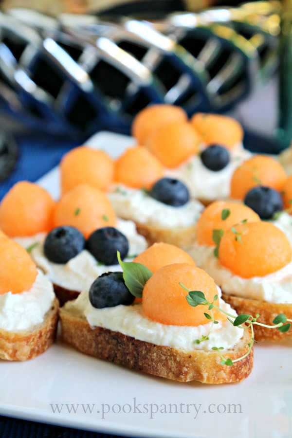 easy bruschetta recipe with melon and blueberries
