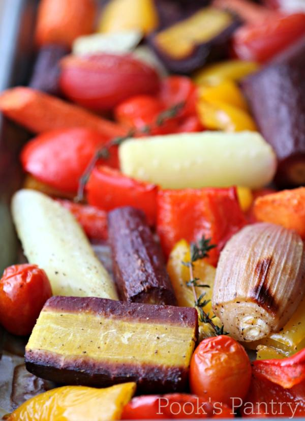 sheet pan of roasted vegetables