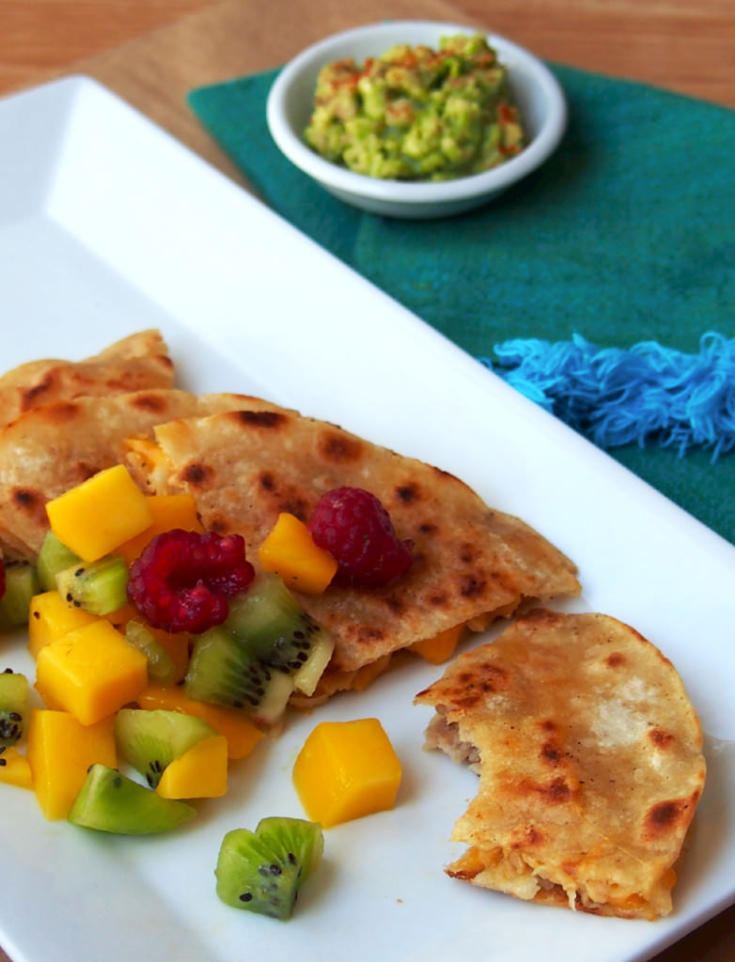 Garlic Pork Quesadillas with Mango Salsa {Leftovers Remix}