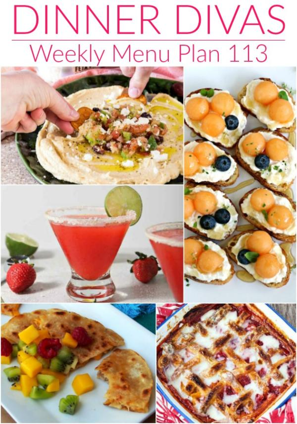 collage of images for dinner divas weekly menu 113