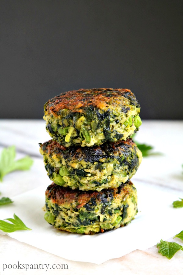 stacked green veggie patties