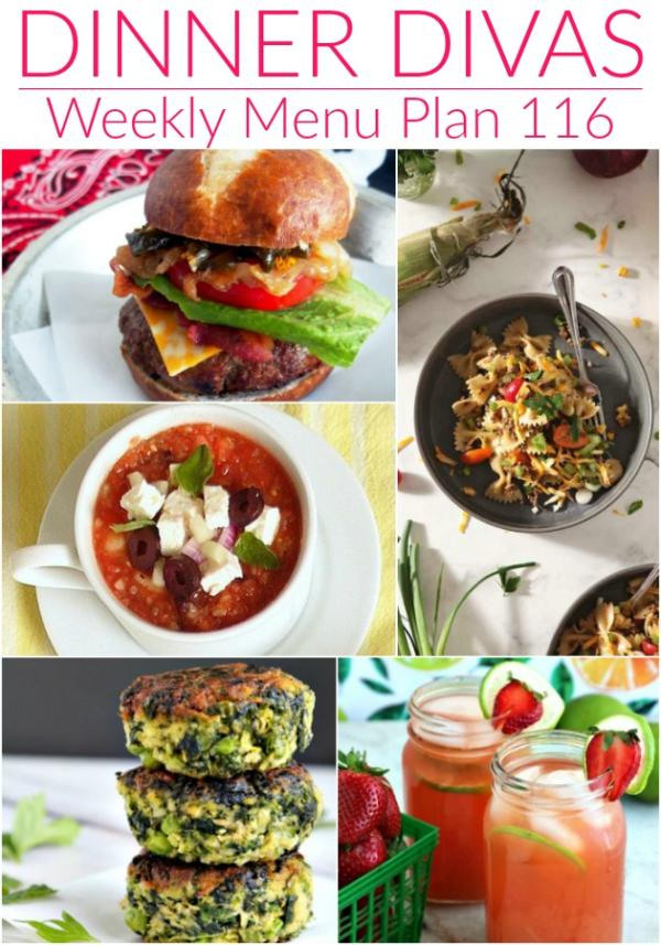 collage of images for dinner divas weekly menu plan 116