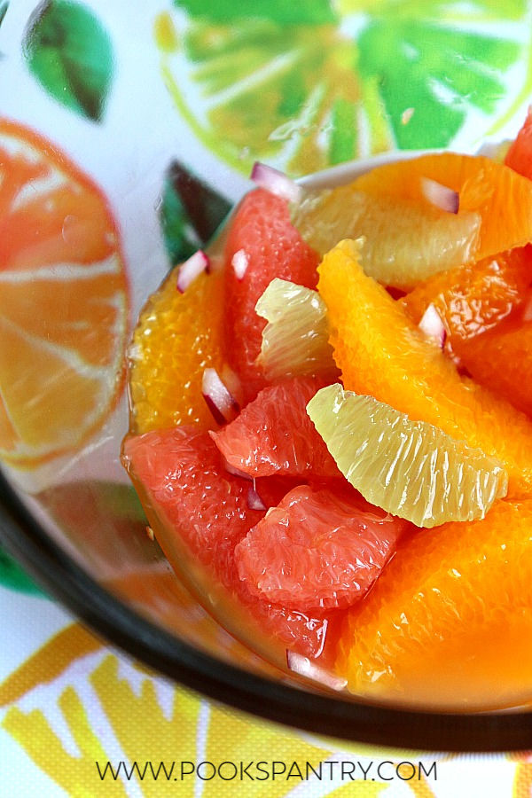 citrus salsa in glass bowl
