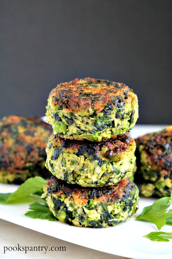 stacked vegetable cakes on platter