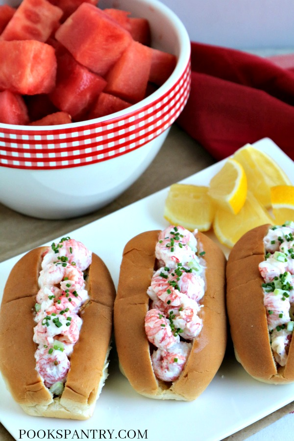 langostino rolls with bowl of watermelon