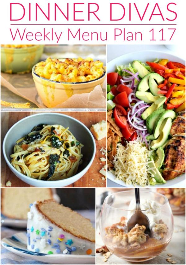 weekly menu plan 117 collage of images