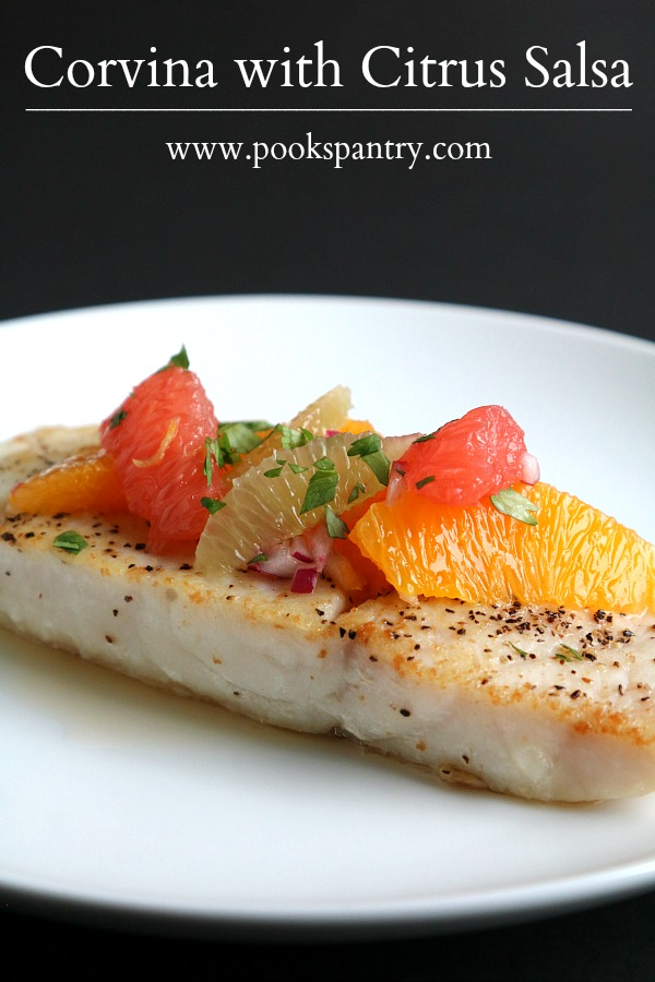 A quick and easy corvina fish recipe that looks impressive enough for dinner parties. Served with a bright citrus salsa, this meal is as delicious as it is beautiful.