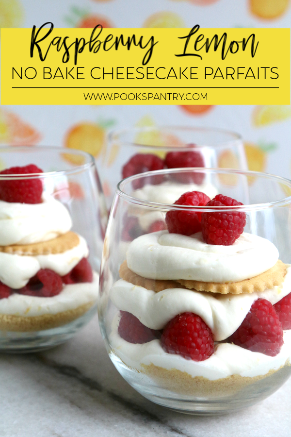 Sweet, tart no bake lemon cheesecake parfaits make a delicious summer dessert.