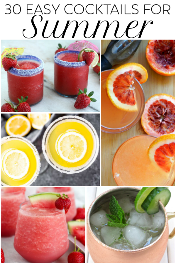 easy summer cocktails collage of images