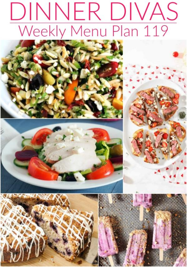 collage of images for dinner divas weekly menu