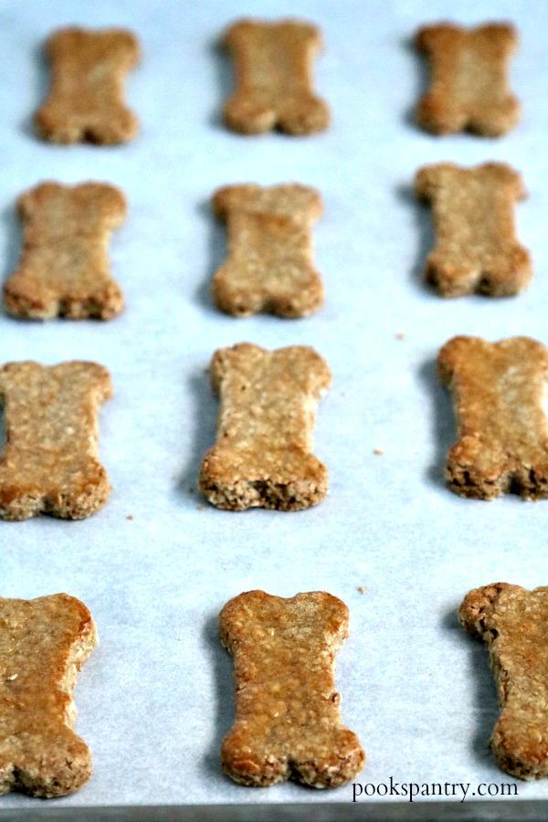 peanut butter banana dog treats on sheet pan