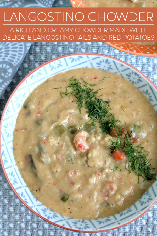 a rich and creamy chowder made with delicate langostino tails and red potatoes.