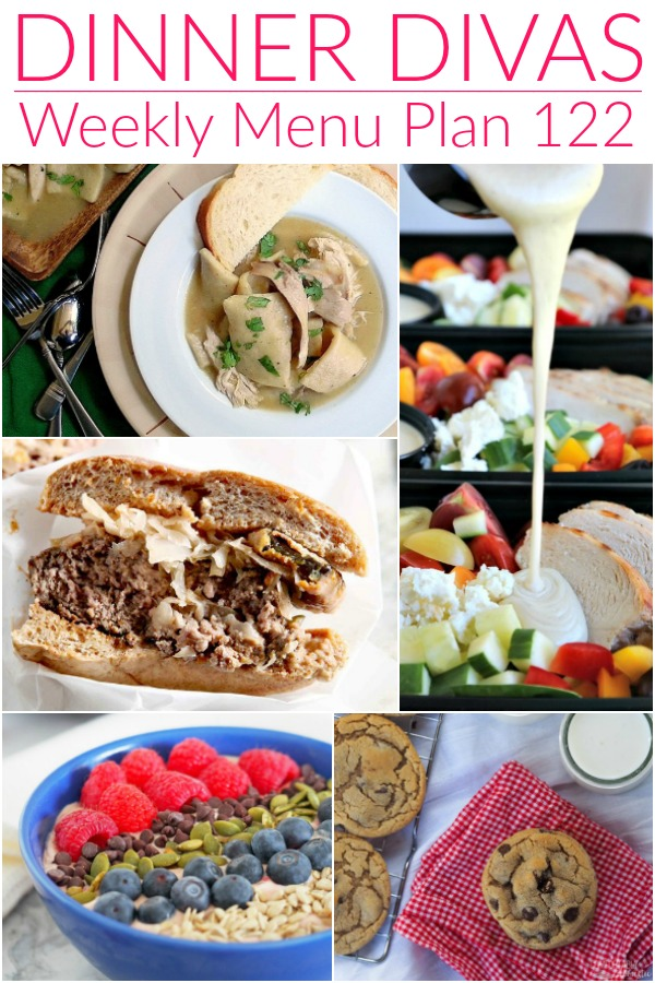 image collage for week 122 of dinner divas menu plan