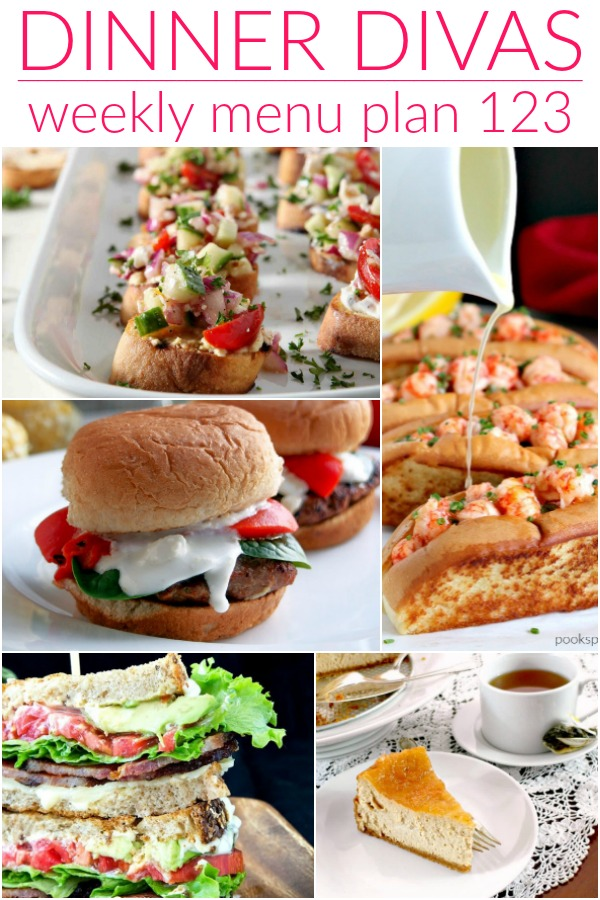 collage of images for week 123 dinner divas menu plan
