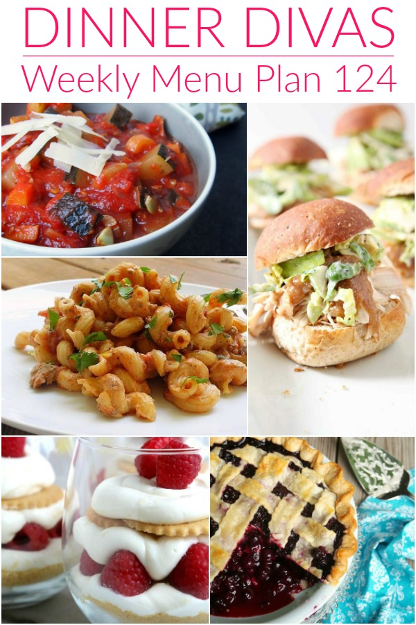 collage of images for dinner divas menu plan 124