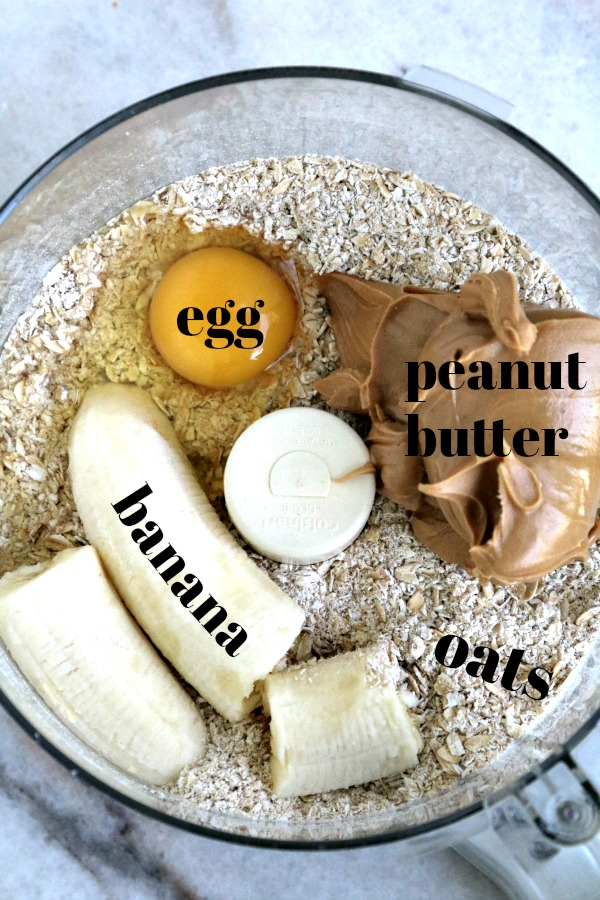 ingredients for peanut butter banana dog treats in food processor bowl