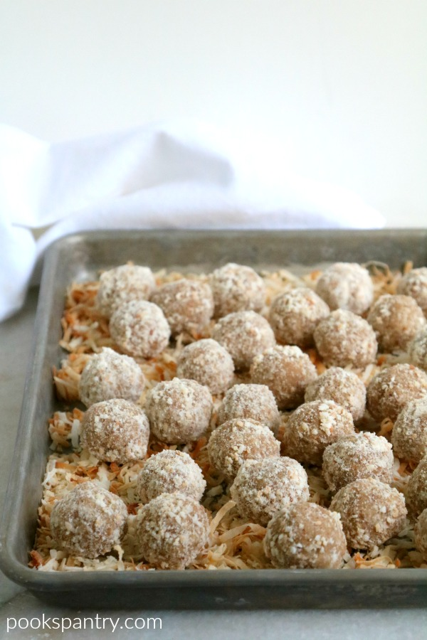 coconut rum balls on sheet pan