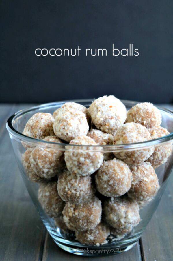 coconut rum balls in clear bowl