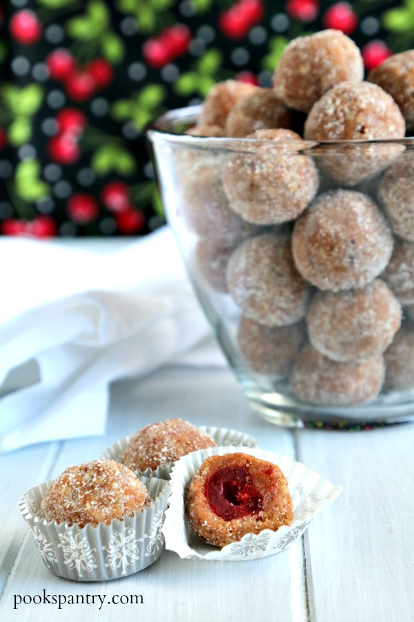 cherry rum ball in decorative paper cup