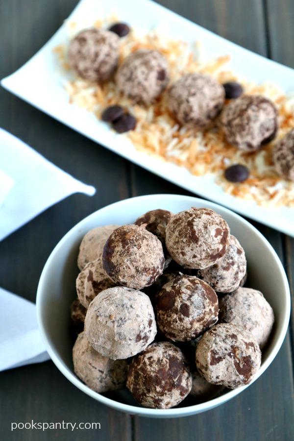 chocolate coconut rum balls in bowl