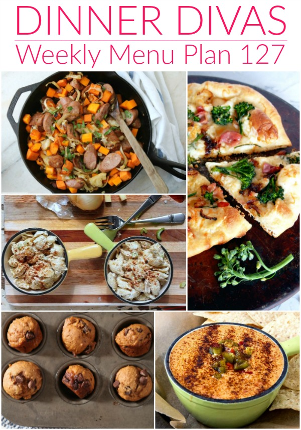 collage of images for weekly menu plan