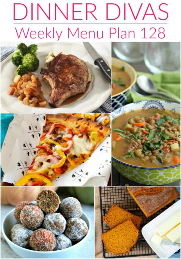 collage of images for menu plan 128