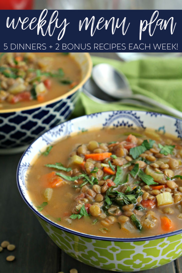 Lentil soup in green and white bowl for dinner divas menu plan