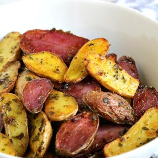 red and white fingerling potatoes in bowl