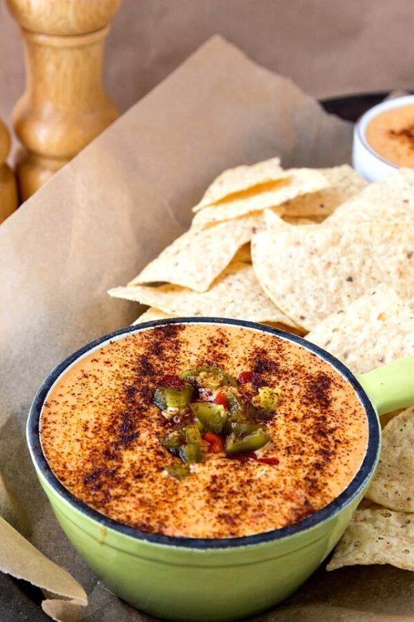 queso dip in green bowl for dinner divas menu plan