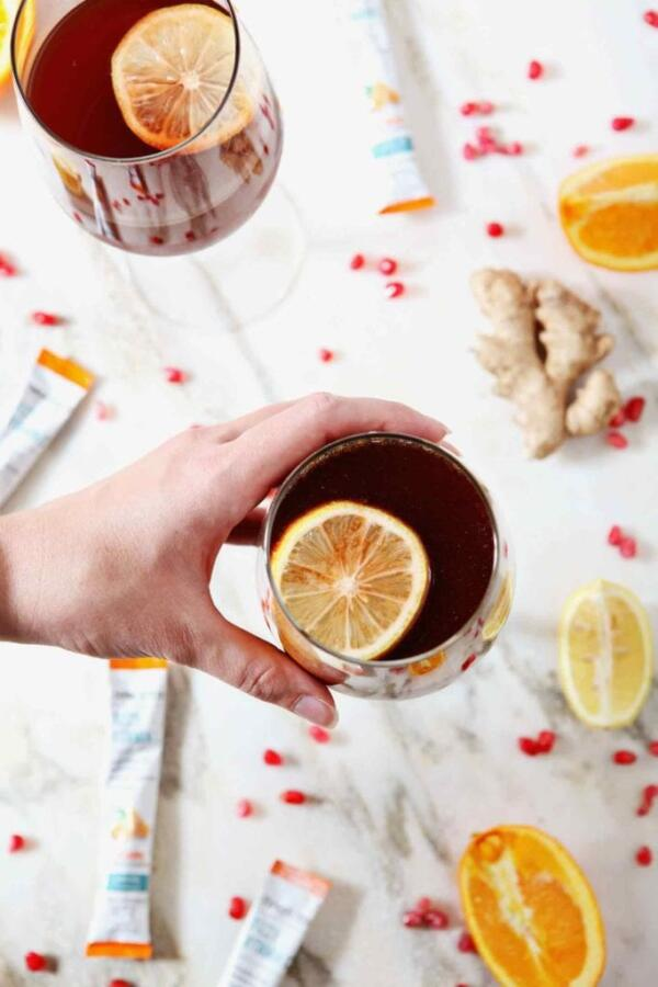 Pomegranate Ginger Orange Sparkling Mocktail