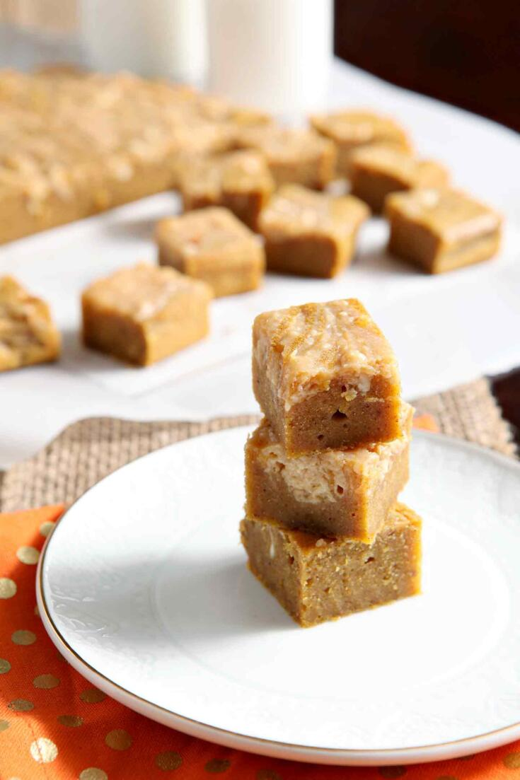 Pumpkin Blondies with a Caramel Cream Cheese Swirl