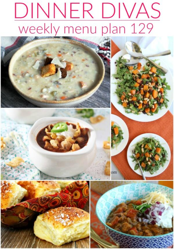 collage of images for dinner divas menu plan