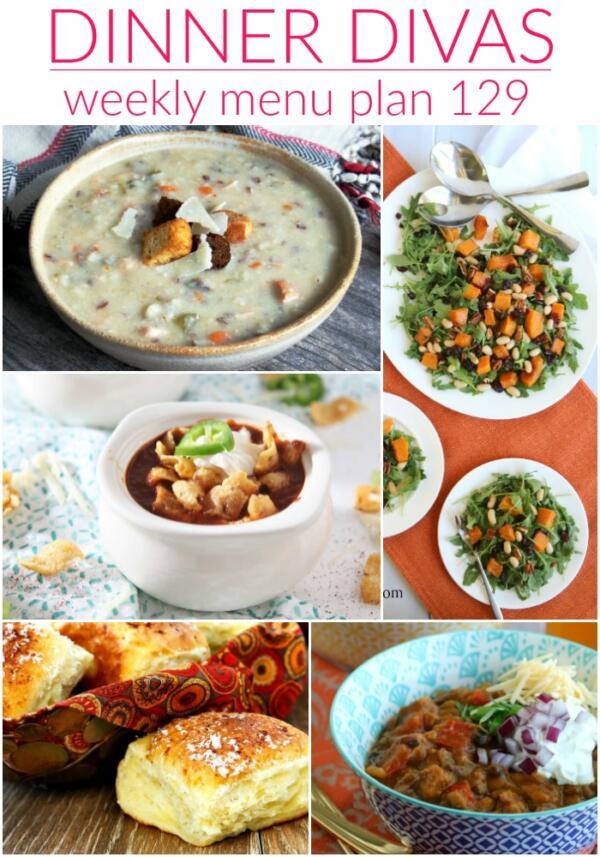 collage of images for dinner divas menu plan