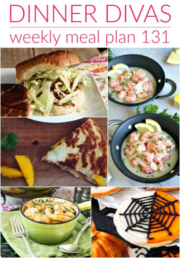 collage of images for dinner divas meal plan